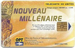 French Polynesia - OPT - Nouveau Millénaire #2 - Gem1A Symmetr. Black, 12.2000, 30Units, 100.000ex, Used - Polinesia Francese