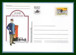 Portugal Bilhete Postal Stationery Entier Dia Do Sello 1988  Automobile Car Facteur Distribuitor Letter Box Boite Lettre - Postal Stationery
