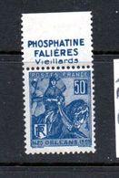 """FRANCE N° 257 50C BLEU 5EME CENTENAIRE DE LA DELIVRANCE D'ORLEANS PAR JEANNE D""""ARC PUB PHOSPHATINE FALIERES** - Advertising"""