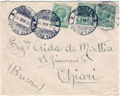 1915-busta Affrancata Con Tre 5c. Leoni Annullo Posta Militare 25 Divisione - 1900-44 Victor Emmanuel III