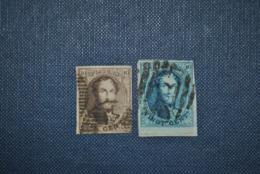 Belgique 1858 Léopold I Y&T 10-11 Oblitérés - 1858-1862 Medallions (9/12)