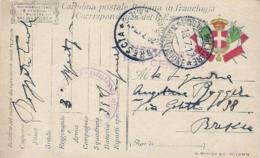 1917-cartolina In Franchigia Stemma E Bandiere Ed.Binda Milano Annullo Posta Militare 3 Divisione+bollo Circolare Uffici - Non Classés