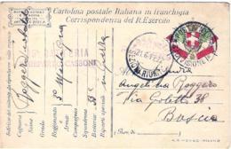 1917-cartolina In Franchigia Stemma E Bandiere Ed.Binda Milano Annullo Posta Militare 3 Divisione+ Lineare 33 Batteria 2 - Non Classés