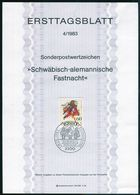 BRD - 1983 ETB 04/1983 - Mi 1167 - 60Pf            Schwäbisch-allemannische Fastnacht - FDC: Hojas