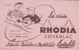 BUVARD - LES CAHIERS RHODIA COVERLAC  A COUVERTURE LAVABLE - ILLUSTRATEUR R. JACQUET - ECOLIERS PAGE ECRITURE ANCRE - Papierwaren