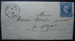 Cadenet 1862 Pc 574 Sur N°14, Vaucluse Petite Lettre De Me Bernard Pour Apt - 1849-1876: Classic Period