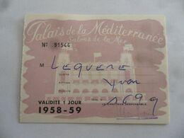 (Fiscaux - Taxe Jeux - Nice - 1958 / 59) - Palais De La Méditerranée - Carte D'un Jour (Prix 200 Fr. Dont Taxe 100 Fr.) - Fiscali