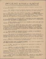 Guerre D'Algérie Tract UFF Union Des Femmes Françaises Pour Négociations Avec GPRA Contre L'OAS Pour La Paix En Algérie - Historical Documents