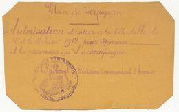 FRANCE - Place De Perpignan - Autorisation D'entrer à La Citadelle Le 10 Et Le 11 Février 1912 - 2eme Division D'Infante - Cachets Militaires A Partir De 1900 (hors Guerres)