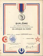 Diplôme Médaille Commémorative Opérations De Sécurité Et Maintien Ordre Afrique Du Nord 1958 Cachet 231 Bat Infanterie - Diploma's En Schoolrapporten