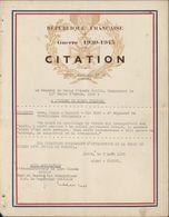 Guerre 1939 1945 WW2 Citation à L'ordre Du Corps D'armée Général KOELTZ 4e Régiment Tirailleurs Sénégalais 3 8 43 - Diploma's En Schoolrapporten