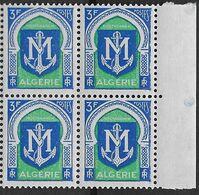 1956-58 Algérie N° 337 B  (bloc De 4)  Nf** MNH . Armoiries MOSTAGANEM - Algeria (1924-1962)