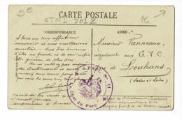 """Cachet Double Couronne """" Parc N° 11 - Le Chef Du Parc"""" Parc Aéronautique De Verdun, Circulé Sur CP Caserne Anthouard - Marcophilie (Lettres)"""
