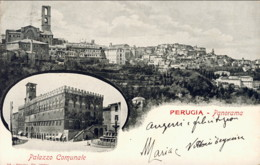 """1901- """"Perugia-panorama E Veduta Del Palazzo Comunale"""" - Perugia"""