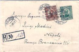 1923-Jugoslavija Jugoslavia Lettera Raccomandata Per Napoli Affrancata 1d.+4d.Annullo Bilingue Donja Lastva Del 17.12 - 1919-1929 Royaume Des Serbes, Croates & Slovènes