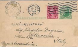 1928-Usa Postal Card 1c.Jefferson Addressed To Italy With Additional Franking Of 2c.Washington Imperforate - Etats-Unis