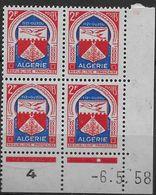 1956-58  Algérie N° 337A  (bloc De 4)  Nf** MNH . Coin Daté 6 5 58. Armoiries TIZI-OUZOU - Algeria (1924-1962)