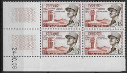 1956  Algérie N° 338  (bloc De 4)  Nf** MNH . Coin Daté 24 10 56 Maréchal Leclerc - Algeria (1924-1962)