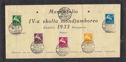 Hungary 1933 International Scout Jamboree, Souvenir Sheet, GODOLLO IV JAMBOREE 933 AUG 11 C.d.s. - FDC