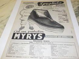 ANCIENNE PUBLICITE CHAUSSURE SOUPLECHO DE  MYRYS  1956 - Other
