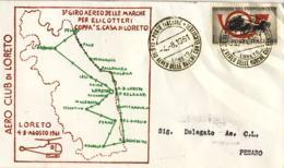 """1961-tratta Loreto-Pesaro Aerogramma 3 Giro Aereo Delle Marche Per Elicotteri Coppa """"Santa Casa Di Loreto"""" - 1946-.. République"""