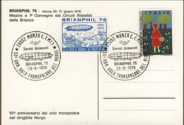 1976-cartolina Illustrata 50 Anniversario Volo Transpolare Del Dirigibile Norge Con Erinnofilo E Bollo Figurato - 6. 1946-.. Repubblica