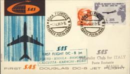 1961- Aerogramma I Volo SAS DC 8 Roma Manila Del 7 Settembre - 1961-70: Marcophilia