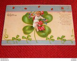 FANTAISIES  -  FÊTES  -   Petit Ange Dans Un Trèfle à Quatre Feuilles  Géant - 1902 - Nouvel An