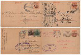 BELGIQUE - BELGÏE / 1916-18 -  4 CENSURES DIFFERENTES SUR ENTIERS POSTAUX - ZENSUR - CENSORED (ref 435) - Guerre 14-18