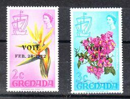 """Grenada  - 1972. Strelitzia E Boungainville. Sovr. """" VOTE  FEB. 1972 """" . MNH - Sin Clasificación"""