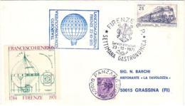 1971- Aerogramma Con Erinnofilo Trasporto Con Mongolfiera Lancio Da Grassina Firenze Recupero A Panzano Distanza Percors - 6. 1946-.. Repubblica