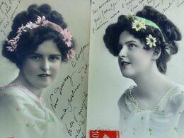 LOT X 2 Cpa FEMMES . PORTRAIT JEUNE FEMME COURONNE MARGUERITES  1908 PRETTY WOMAN DAISIES ON HAIR   2 OLD PC - Femmes
