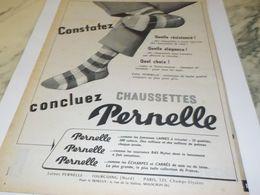 ANCIENNE PUBLICITE CONSTATEZ CONCLUEZ CHAUSETTES  PERNELLE 1957 - Non Classificati