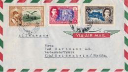 1959-Iran Lettera Diretta In Germania Affrancata Con Tre Commemorativi - Iran
