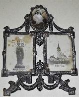 Antiguo Y Pequeño Altar Con Imágenes, En Metal - Bistrica, Marija Bistricka - Croacia / 6,5x5cm - Religione & Esoterismo