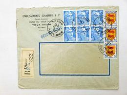 FRANCE > SUISSE // 1952, Lettre Reco., THANN / HAUT-RHIN > BERNE - Affr.: 6x15f MARIANNE De GANDON + 3x1f Bla. BÉARN - 1945-54 Maríanne De Gandon