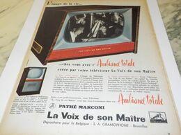 ANCIENNE PUBLICITE IMAGE DE LA VIE  PATHE MARCONI  1958 - Television