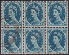 Great Britain 1955 Used Sc 329 10p QEII Block Of 6 Crease - 1952-.... (Elizabeth II)