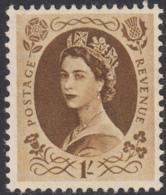 Great Britain 1955 MNH Sc 331 1sh QEII - 1952-.... (Elisabetta II)