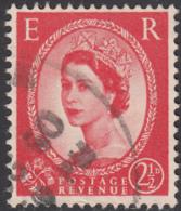 Great Britain 1959 Used Sc 357d 2 1/2p QEII Black Graphite Lines Crease - 1952-.... (Elizabeth II)