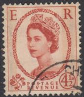 Great Britain 1959 Used Sc 360ap 4 1/2p QEII Black Graphite Lines, Phosphor - 1952-.... (Elizabeth II)