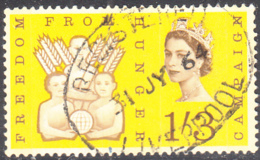 Great Britain 1963 Used Sc 391p 1sh3p Freedom From Hunger Campaign Phosphor - 1952-.... (Elizabeth II)