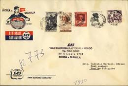 1958- Cat.Pellegrini N.777 Euro 190, I Volo SAS Roma-Manila,volo Inaugurale Attorno Al Mondo Via Polo Nord Del 20 Gennai - 1946-60: Marcophilie