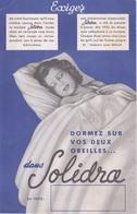 BUVARD - EXIGEZ SOLIDRA - FOURNISSEUR  DES DRAPS DES 1935 - LITERIE FEMME DANS UN LIT EN TRAIN DE DORMIR - Vestiario & Tessile