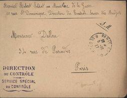 Guerre 14 Ministère De La Guerre Direction Du Contrôle Service Spécial Du Contrôle FM CAD Paris 3 10 17 Contrôle Budgets - Marcophilie (Lettres)