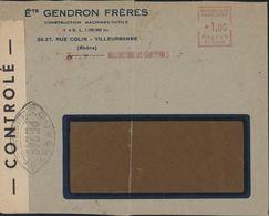 Guerre 39 45 Censure Bande + Cachet Ouvert Par Autorité Contrôle PE 246 = Rodez EMA SCO146 Villeurbanne Les Charpennes - Marcophilie (Lettres)