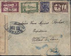 Guerre 39 45 Censure Bande + Cachet Ouvert Par Autorité Contrôle NB 196 = Grenoble CAD Oran Algérie 1941 - Marcophilie (Lettres)
