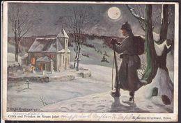 Postkarte Neujahr Soldat Feldpost 1915 - War 1914-18