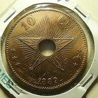 Congo 10 Centimes 1889 Varnished - Congo (Belge) & Ruanda-Urundi