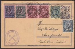 75 Pfg.Ganzsache 1923 Mit Dienstmarken Zusatzfrankatur Tübingen Geologisches Inst - Postzegels